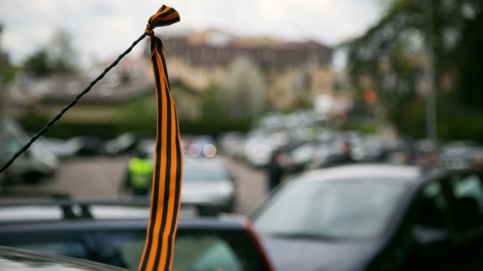 Russian St. George's ribbon on a car in Vilnius on May 9