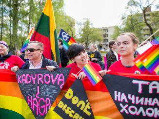 LGBT community protest in the front the Russian Embassy