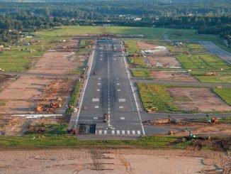 Vilniaus Airport runway during reconstruction