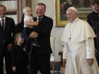 Lithuania's Prime Minister Saulius Skvernelis and Pope Francis in the Vatican on  October 6