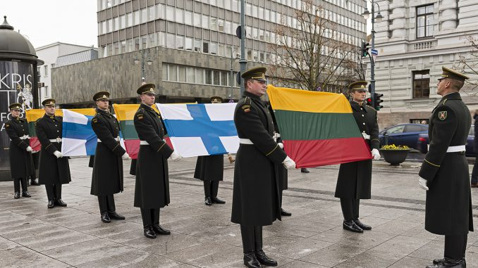 Lithuanian and Finnish Flags at 100 Years of Finnish Independence  in Vilnius Photo © Ludo Segers @ The Lithuania Tribune