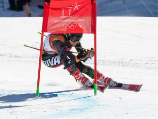 Ieva Januškevičiūtė at the the women's giant slalom at the 2018 Olympic Winter Games in Pyeongchang