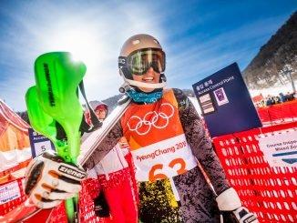 Ieva Januškevičiūtė at the slalom at the Pyeongchang Winter Olympics