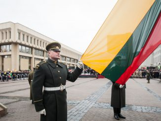 The flags of the three Baltic states  hoisted in a ceremony in Independence Square