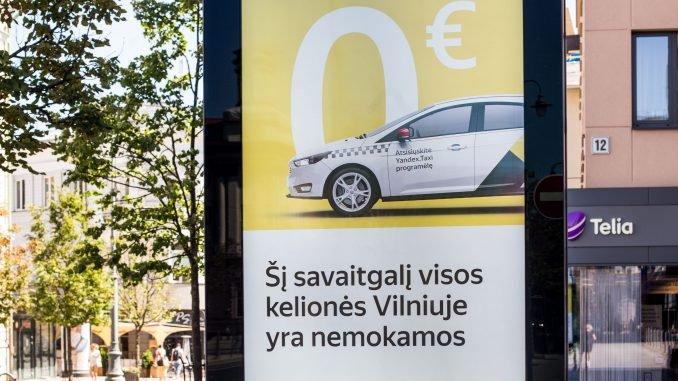 Yandex Taxi ad in in Vilnius