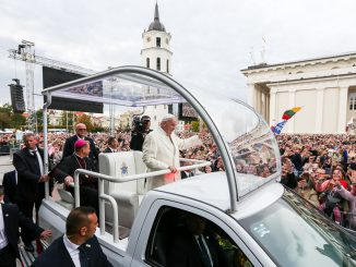 Pope Francis arrives at the Cathedral Sq in Vilnius to meet tens of thousands of young people