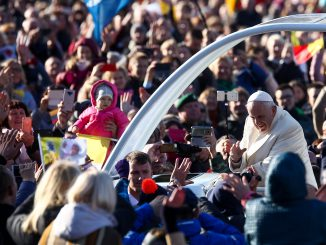 Pope Francis arrives at the Santaka Park in Kaunas