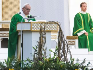 Pope Francis addressing to more than 100,000 people in the Santara Park in Kaunas