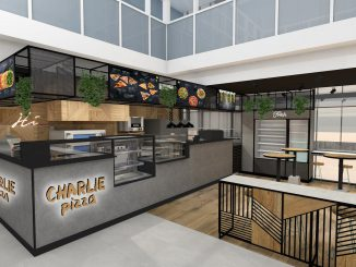 Mockup of Charlie Pizza at Vilnius Airport