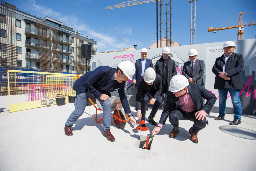 A traditional capsule burying event on new Moxy in Kaunas