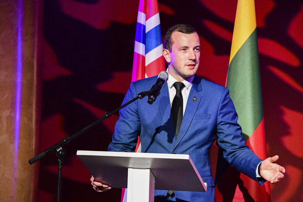 Minister Virginijus Sinkevičius speaking at 10th Norwegian Lithuanian Chamber Gala in Vilnius Photo © Ludo Segers @ The Lithuania Tribune